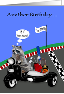 51st Birthday, over the hill humor, adorable raccoon driving a scoote card