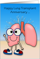 Anniversary on Lung Transplant Card with Happy Lungs Wearing Sneakers card