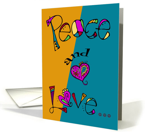 International Day Of Peace, general, psychedelic peace and love card