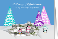 Christmas to Half Sister, adorable penguins on ice and snow, trees card