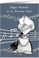 Birthday to Aunt, a cute duck playing an oboe with musical notes card
