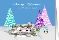 Christmas to Coach, adorable penguins on ice and snow with trees card