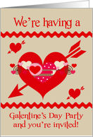 Invitations to Galentine's Day Party, general, red, white, pink hearts card
