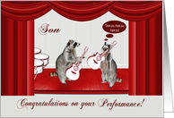 Congratulations on performance to Son, Raccoon rocking with guitars card