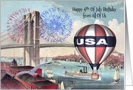 Birthday on the 4th Of July from All Of Us, Brooklyn Bridge, fireworks card