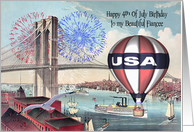 Birthday on the 4th Of July to Fiancee, Brooklyn Bridge, fireworks card