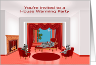 Invitations, house warming party, raccoons enjoying wine and beer card