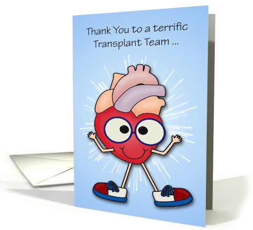 Thank You to Transplant Team, Heart, happy heart with fireworks card