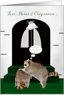 Congratulations on Wedding from brother to brother, raccoons, church card