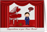 Congratulations on piano recital to male, young boy on a red stage card