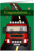 Congratulations on Commercial Drivers License Semi Truck with Raccoon card