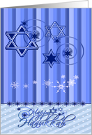 Hanukkah with an Elegant Display of Stars of David in Shades of Blue card