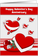Wedding Anniversary on Valentine's Day with Red Hearts and Roses card