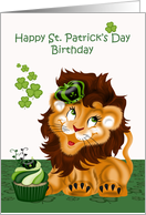 Birthday on St. Patrick's Day with a Lion Wearing a Crown on Green card