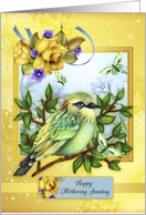 Happy Mothering Sunday, With Bird Butterflies And Roses card