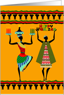 Happy Kwanzaa, Tribal design with candles and elephant border card