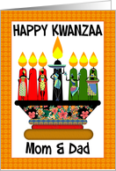 Mom & Dad, Kwanzaa Candles And Assorted Females In Pretty Outfits card