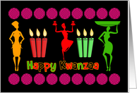 Kwanzaa design colorful and joyful with swirls, candles and females card