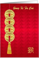 Gong Xi Fa Cai, Chinese New Year, Year Of The Monkey, Coins card