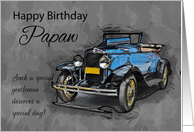 Papaw, Vintage Blue Car On Watercolor Background card