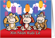 Chinese New Year, Year Of The Monkey, Three wise monkeys card