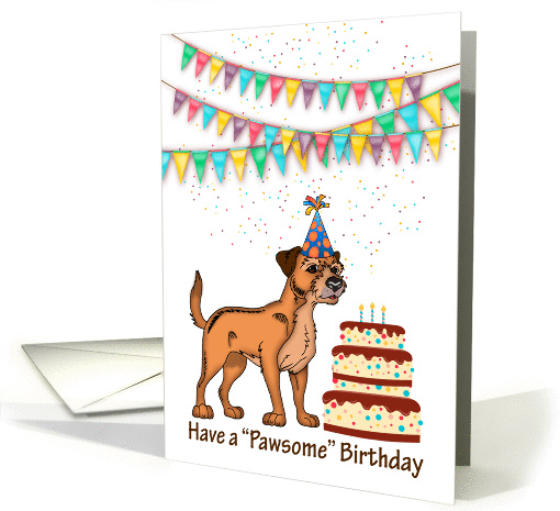 Border Terrier Dog With Birthday Cake And Bunting card (1413260)