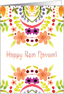 Ram Navami In Watercolor Flowers And Font card