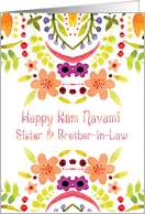 Sister & Brother-in-Law, Ram Navami With Watercolor Flowers card