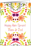 Mom & Dad, Ram Navami With Watercolor Flowers card