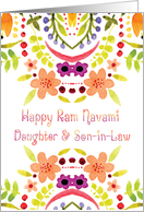 Daughter & Son-in-Law, Ram Navami With Watercolor Flowers card