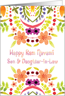 Son & Daughter-in-Law, Ram Navami With Watercolor Flowers card