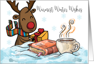 Christmas Reindeer, With Book Hot Chocolate And Gift, Greetings card