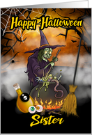 Sister Happy Halloween , witch Halloween Greeting card
