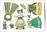 Paper Doll Cat St. Patrick's Day nostalgic kids activity card