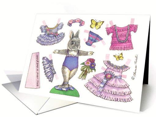 Birthday Aster Ballerina Bunny Paper Doll card (1360670)