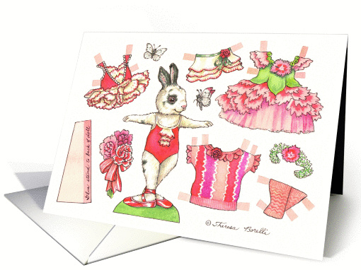 Birthday Carnation Ballerina Bunny Paper Doll card (1360690)