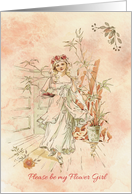 Please be my Flower Girl - Vintage watercolor theme card