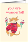 You Are Wonderful Cartoon Cat Wearing Red Patterned Vest with Flowers card