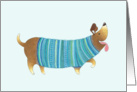 Smiling Wiener Dog Wearing a Knitted Blue and Green Sweater card
