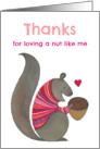 Cute Squirrel in a Red and Pink Patterned Sweater Loving a Nut card