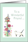 To a Wonderful Friend Garden with Cat and Birdhouse card