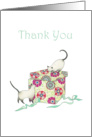 Thank You for the Wedding Gift Two Cats and Flower Patterned Gift Box card
