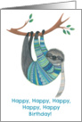 Happy Birthday To a Great Person Sloth in Teal Sweater card