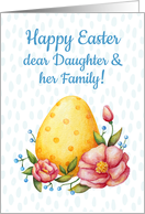 Easter watercolor card for Daughter & her Family with Egg and flowers card