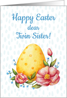 Easter watercolor card for Twin Sister with Egg and flowers card