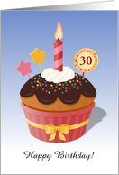 Customizable Age Birthday Chocolate Cupcake with a Candle card