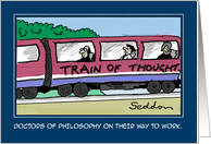 Doctors Of Philosophy On Their Way To Work-Comic Cartoon Card