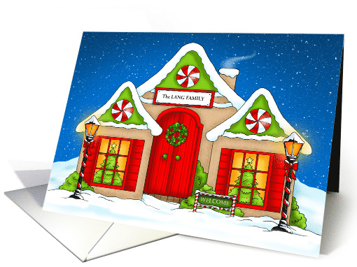 Holiday Snow Cottage Welcome Personalized Greeting card (1404314)