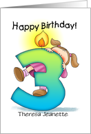 Personalized 3rd Birthday Girl Milestone card