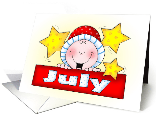 Baby Arriving in July Announcement card (1599694)